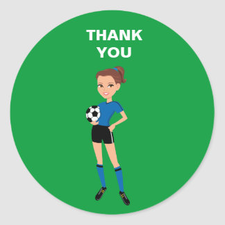 Girl's Soccer Thank You Sticker
