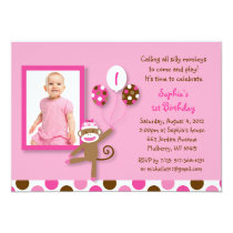 Girls Sock Monkey Photo Birthday Invitations