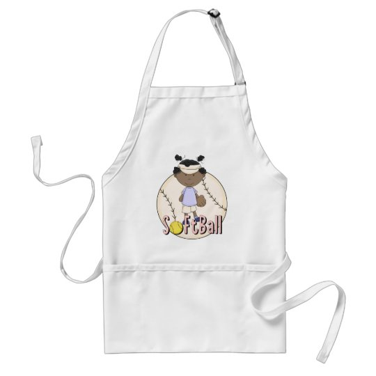 Girls Softball African American t-shirts and Gifts Adult Apron