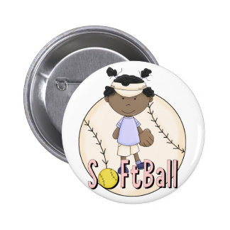 Girls Softball African American t-shirts and Gifts Button