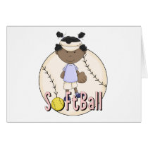 Girls Softball African American t-shirts and Gifts Card