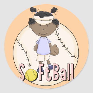 Girls Softball African American t-shirts and Gifts Classic Round Sticker