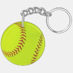 Girls Softball double sided round keychain