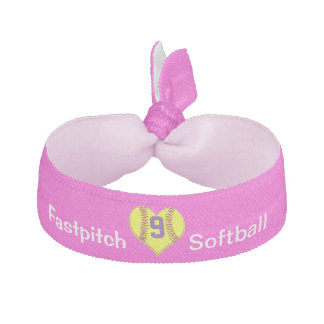 Girls Softball Hair Accessories with JERSEY NUMBER Ribbon Hair Tie