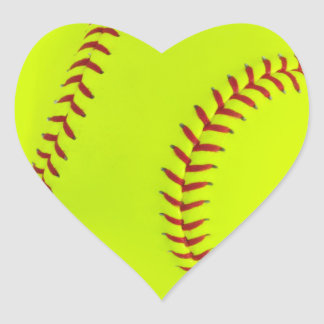 Girls Softball Heart Stickers
