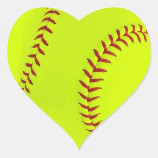 Girls Softball Heart Stickers