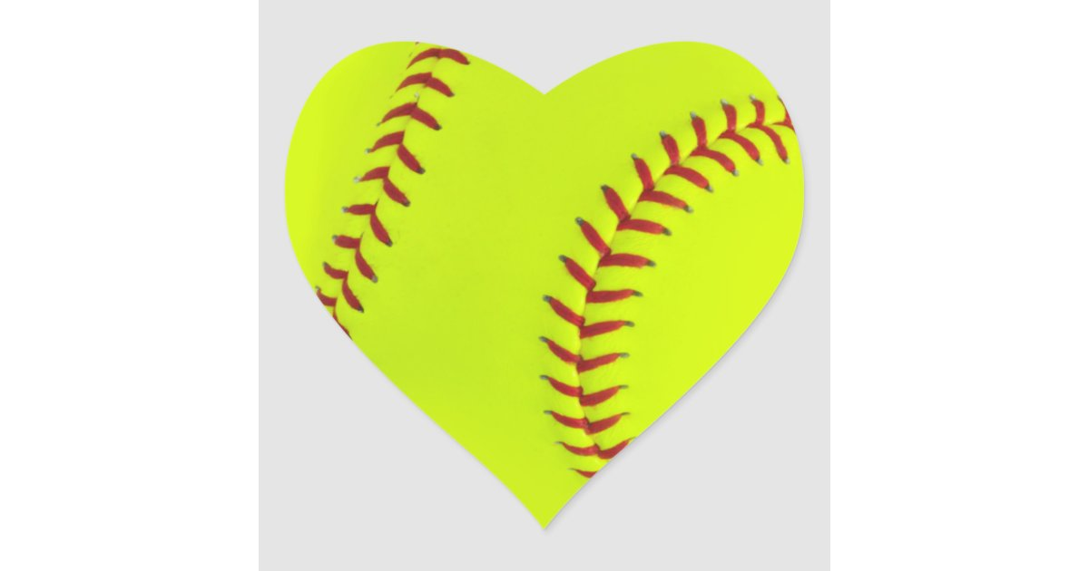 Girls Softball Heart Stickers   Zazzle.com