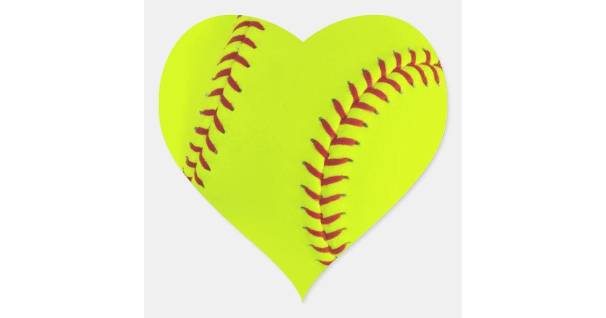 Girls Softball Heart Stickers Zazzle