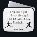 "Girls Softball Laptop Sleeve<br><div class=""desc"">Show your love for softball with this cool laptop sleeve!</div>"
