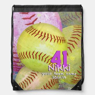 Girls Softball Pink Yellow Abstract Girly Drawstring Backpack