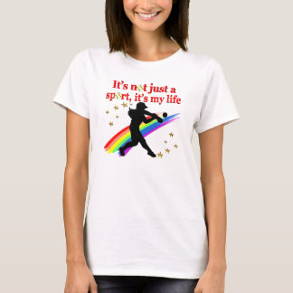 GIRLS SOFTBALL RED RAINBOW INSPIRATIONAL DESIGN T-Shirt