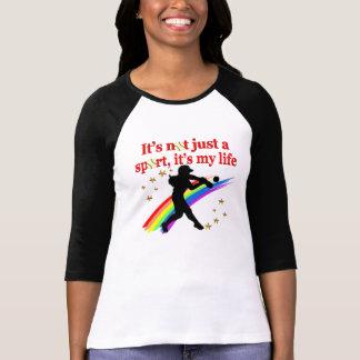 GIRLS SOFTBALL RED RAINBOW INSPIRATIONAL DESIGN T-Shirt