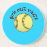 Girls Softball-Red Text Drink Coasters