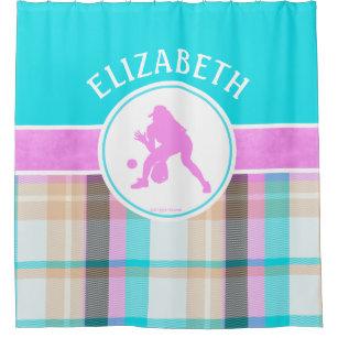 Girls Softball Summer Tartan With Monogram Shower Curtain
