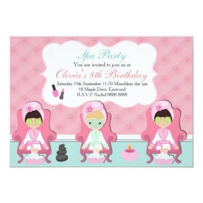 ethnic girls spa day birthday invitation | zazzle, Party invitations
