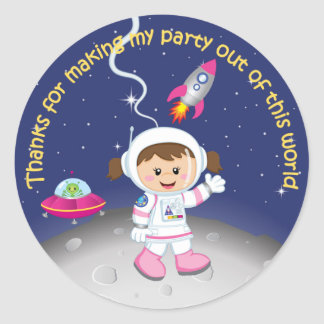 Girls Space Theme Birthday Thank You Classic Round Sticker