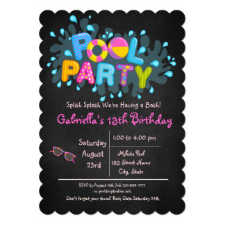 Girls Splish Splash  Come To Our Bash Pool Party Card