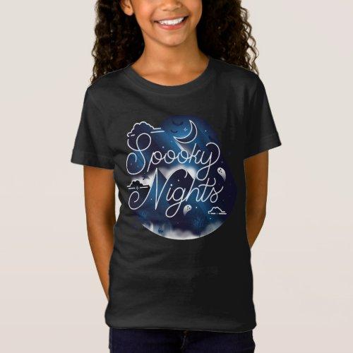 Girls Spooky Nights T_Shirt  Black