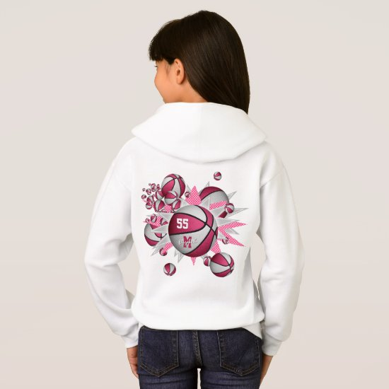 girls sports apparel pink white basketball blowout hoodie