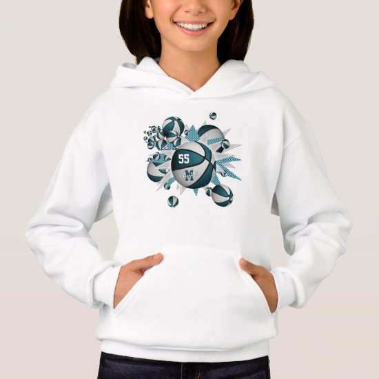 girls sports apparel teal white basketball blowout hoodie