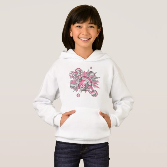 girls sports pink gray volleyball blowout hoodie