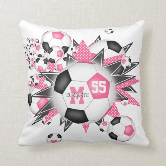 girls sports room pink black soccer ball blowout throw pillow