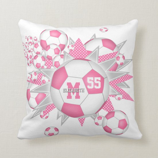 girls sports room pink gray soccer ball blowout throw pillow