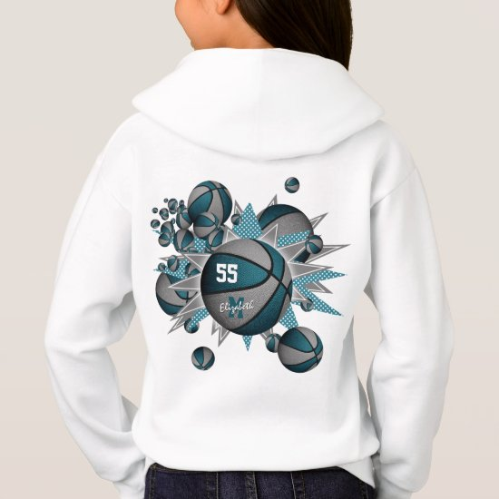girls sports teal gray basketball blowout hoodie