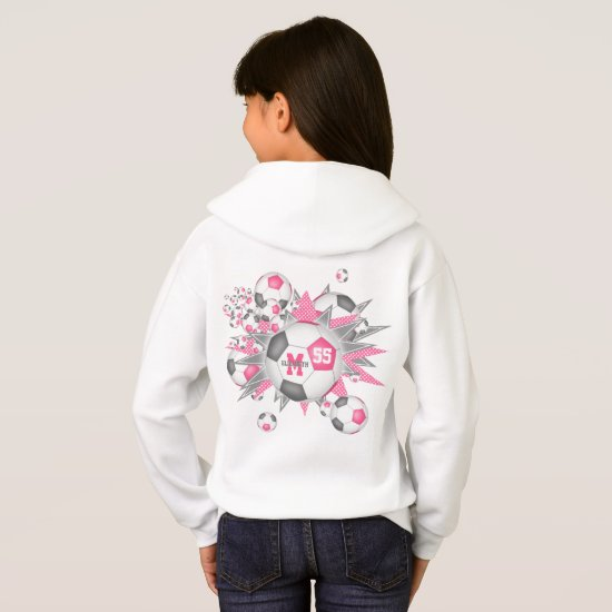 girls sporty pink gray soccer ball blowout hoodie