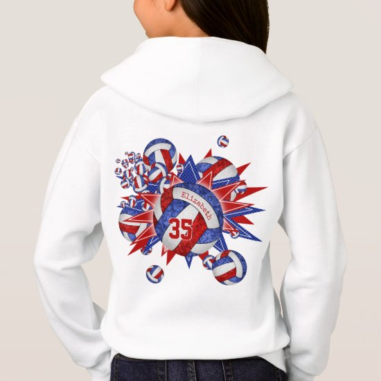 girls sporty red white blue volleyball blowout hoodie