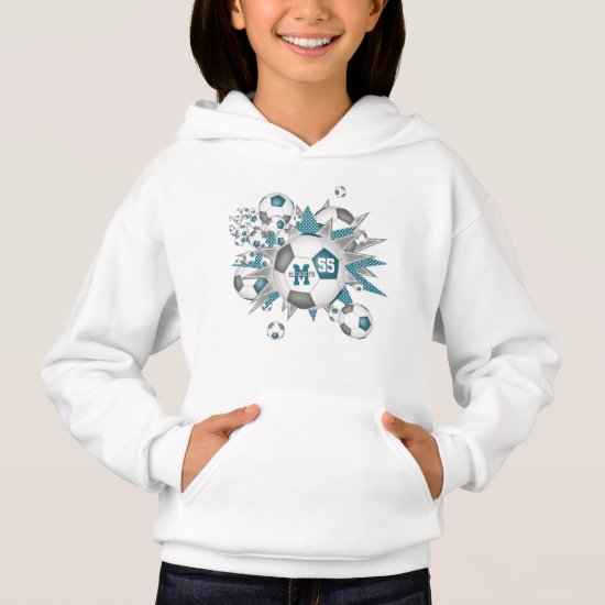 girls sporty teal gray soccer ball blowout hoodie