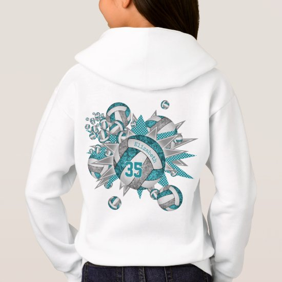 girls sporty teal gray volleyball blowout hoodie