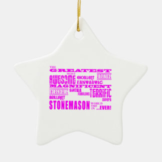 Girls Stonemasons : Pink Greatest Stonemason Double-Sided Star Ceramic Christmas Ornament