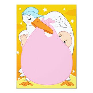 "Girls Stork Baby Shower Invitations 5"" X 7"" Invitation Card"