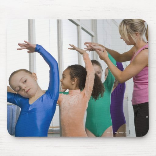 Girls stretching in gymnastics class mousepad