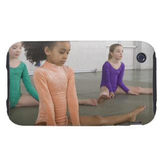 Girls stretching in gymnastics practice tough iPhone 3 case