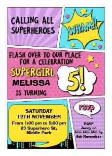 Girls Superhero 5th Birthday Invitation