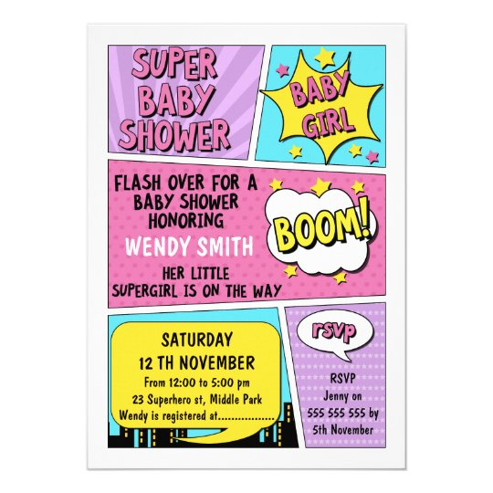 d9bd6a61597 Girls Superhero Baby Shower Invitation