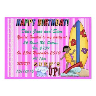 """Girls Surfs up Invitation 5"""" X 7"""" Invitation Card"""