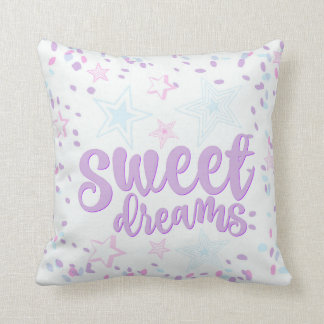 Girl's Sweet Dreams Stars and Confetti Pillow