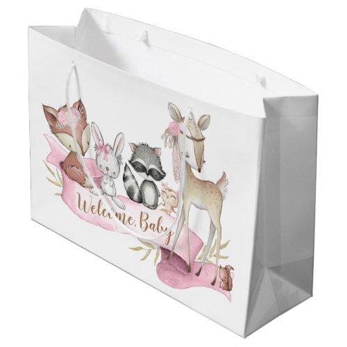 Girls Sweet Woodland Animal Baby Girl Large Gift Bag