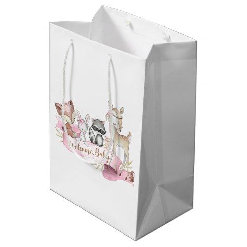 Girls Sweet Woodland Animal Baby Girl Medium Gift Bag