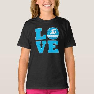 2452b4ad Girls' Swim LOVE Swimming & Diving Swimmer's T-Shirt
