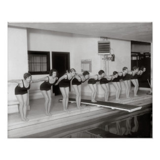 Girls Swim Team, 1930. Vintage Photo Poster