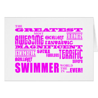 Girls Swimmers : Pink Greatest Swimmer Greeting Card