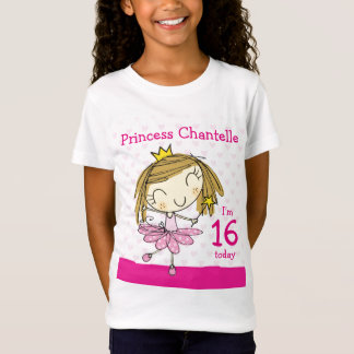 GIRLS T-SHIRT Age 16 princess 16th Birthday