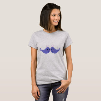 Girls t-shirt Grey with Whales purple