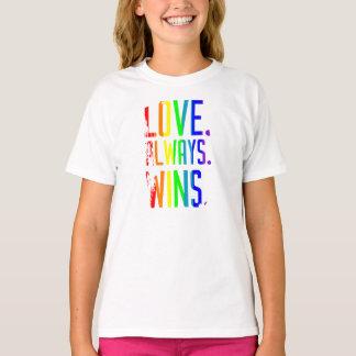Girl's T shirt Love Always Wins Rainbow