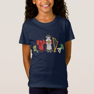 Girls T-shirt: Welsh Daffodils Dragon Leeks Harp T-Shirt