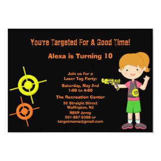 "Girls Target Laser Tag Birthday Party Invitation 5"" X 7"" Invitation Card"